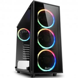 Gabinete Gamer Sharkoon RGB Mid Tower Com 4 FAN Lateral Em Vidro