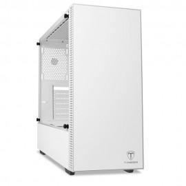 Gabinete Gamer T-DAGGER Cube White Mid Tower Lateral em Vidro Branco